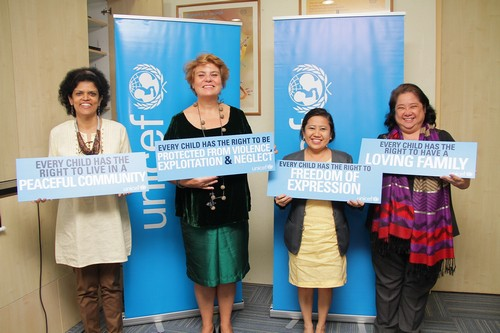 PHOTO D: Unicef Philippines is holding two events this year to commemorate Typhoon Yolanda and the 25th anniversary of the Convention on the Rights of the Child (CRC). In photo are Lotta Sylwander, UNICEF Representative for the Philippines (2nd from left), Zafrin Chowdhury, Unicef Chief for Communications and Private Fundaising and Partnership (1st from left), Grace Alejandrino, OIC Deputy Director, Council on the Welfare of Children (3rd from left) and Normina Mojica, Planning Officer for CWC.
